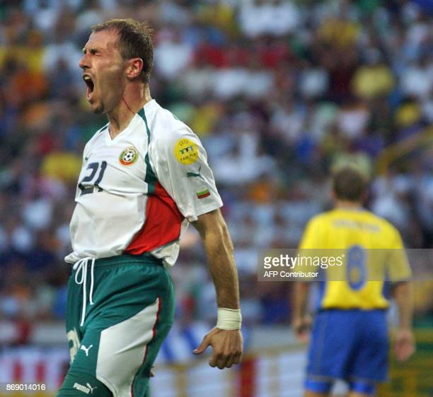 Bulgarian Striker Zoran Jankovic reacts14 June 2004 during their opening match of the European Nations football championships at the Jose de Alvalade...