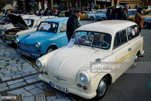 Bulgarian Trabant owners and enthusiasts gather to celebrate the 60th anniversary of the car in the town of Pavel Banya on November 11 2017 The...