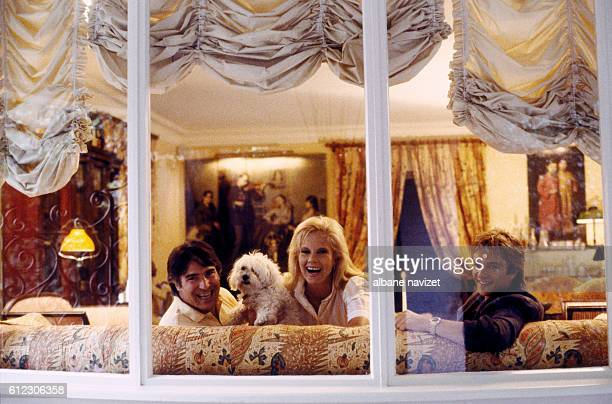 Bulgarianborn French singer Sylvie Vartan and her husband American producer Toni Scotti and her son David Hallyday in their Los Angeles home