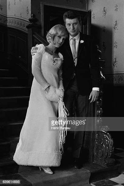 Bulgarianborn French singer Sylvie Vartan with French singer and actor Johnny Hallyday the day of their wedding in Loconville