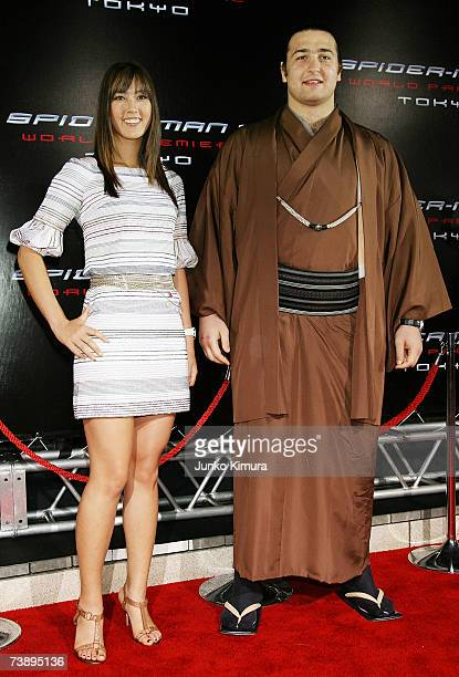 Bulgarianborn sumo wrestler Kotooshu and golfer Michelle Wie attends the World Premiere of 'SpiderMan 3' at the Roppongi Hills Mori Tower on April 16...
