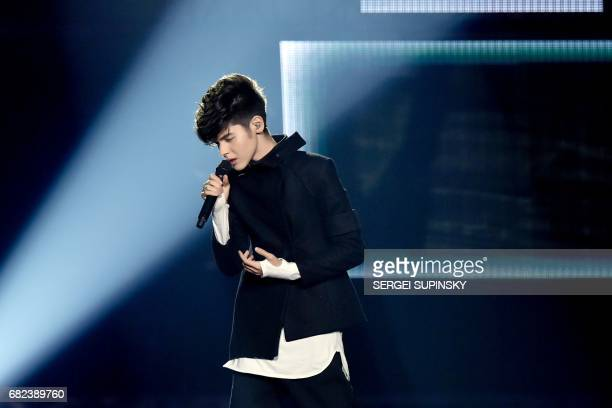 BulgarianRussian singer representing Bulgaria with the song 'Beautiful mess' Kristian Konstantinov Kostov aka Kristian Kostov performs on stage...