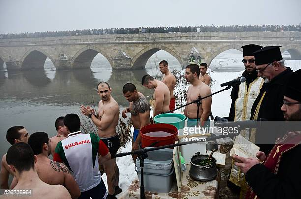 Bulgarians jumped in the ice waters of the Maritsa river as they celebrate Epiphany day in the town of Svilengrad near the BulgarianTurkish border...