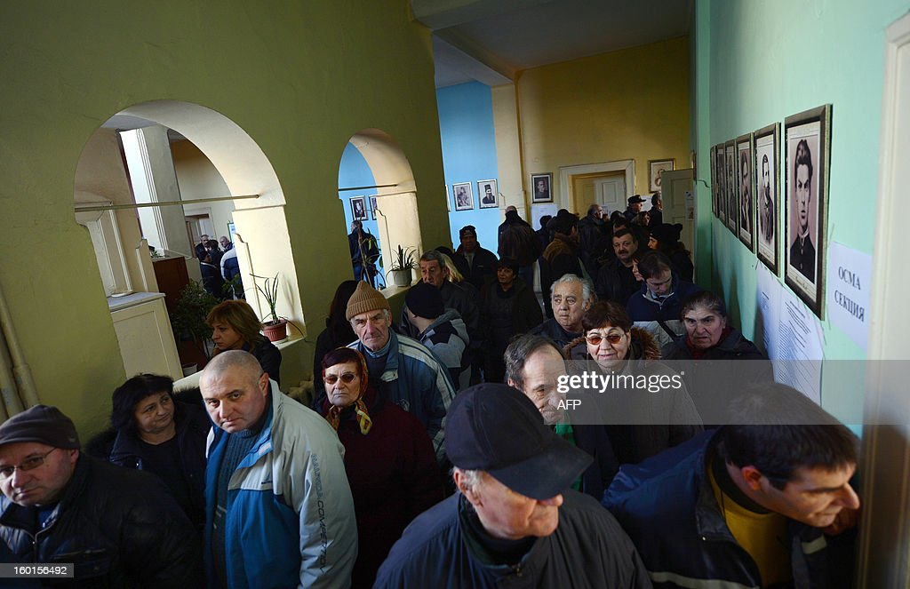 Bulgarians wait in a line to vote at a polling station during the national referendum in the town of Belene on January 27, 2013. Bulgarians voted Sunday on whether to revive plans ditched by the government to construct a second nuclear power plant, in the EU member's first referendum since communism. The referendum asks 6.9 million eligible voters: 'Should Bulgaria develop nuclear energy by constructing a new nuclear power plant ?'.