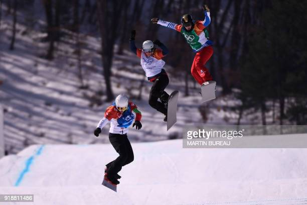 Bulgaria's Alexandra Jekova leads to win the women's snowboard cross quarter-finals at the Phoenix Park during the Pyeongchang 2018 Winter Olympic...