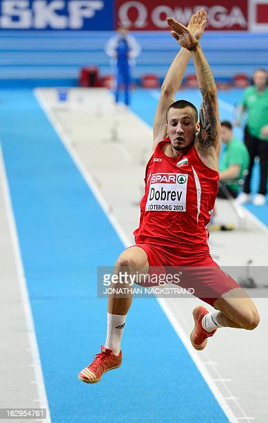 Bulgaria's Daniel Dobrev competes during the Long Jump Men Qualification - Group B event at the European Indoor Championships in Gothenburg, Sweden,...