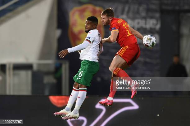 Bulgaria's defender Cicinho fights for the ball Wales's defender Rhys Norrington-Davies during the UEFA Nations League Group B4 football match...