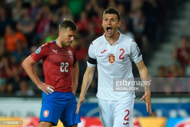 Bulgaria's defender Strahil Popov reacts during the UEFA Euro 2020 qualifier Group A football match Czech Republic against Bulgaria on June 7, 2019...
