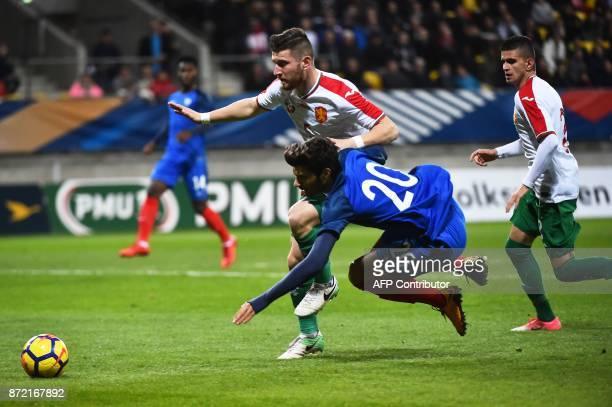 Bulgaria's defender Ventsislav Vasilev vies with France's forward Martin Terrier during the Euro 2019 U21 qualifying football match between France...