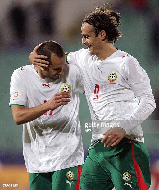 Bulgaria's Dimitar Berbatov and Martin Petrov celebrate during their Euro 2008 Group G qualifying football match against Luxembourg in Sofia 12...