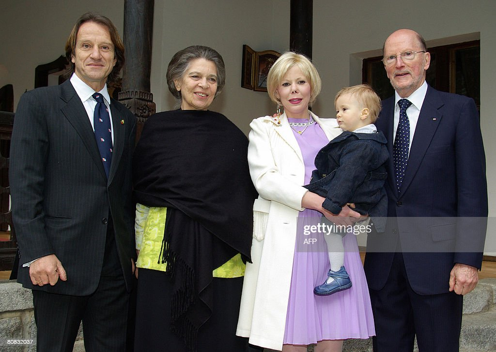 Bulgaria's ex-King and former Prime Minister Simeon Saxe-Coburg (1st R), Princess Kalina(2ndR) the daughter of Simeon Saxe-Coburg holds her one-year old son Simeon-Hasan, flanked by Princess Irene of Greece (3th R) and Princess Kalina's husband, Spanish explorer Munoz Kitin (1stL) as they pose on April 23, 2008 in the mountain resort town of Borovetz. Simeon-Hasan the one-year old son of Princess Kalina was christened during an East Orthodox christening ritual on April 23, 2008 in the St. Ivan Rilski chapel in the mountain resort town of Borovetz. King of Morocco Mohammed VI ( Out of camera range) and Princess Irene of Greece are the Simeon-Hasan godfather and godmother.
