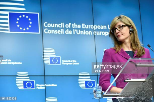 Bulgaria's Foreign Minister Ekaterina Zakharieva takes part in a joint press conference of European Union Chief Negotiator in charge of Brexit...