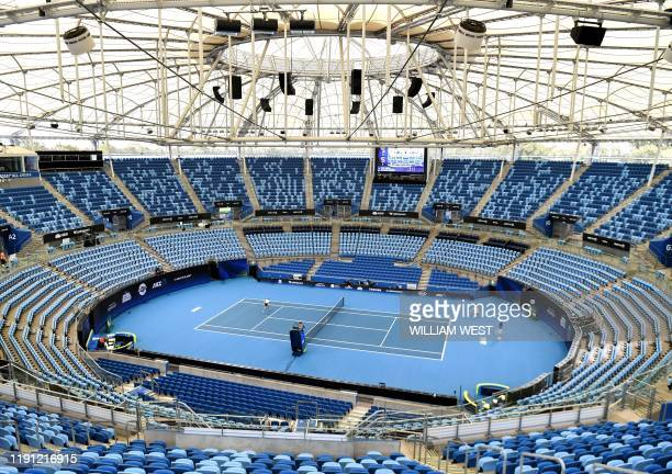 Bulgaria's Grigor Dimitrov attends a training session at Ken Rosewall Arena in Sydney on January 2 ahead of the ATP Cup tennis tournament / IMAGE...