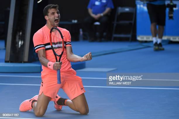 Bulgaria's Grigor Dimitrov celebrates beating Russia's Andrey Rublev in their men's singles third round match on day five of the Australian Open...