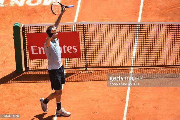 Bulgaria's Grigor Dimitrov gestures as he celebrates after victory over Belgium's David Goffin during their singles tennis match at the MonteCarlo...