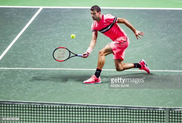 Bulgaria's Grigor Dimitrov returns the ball to Belgium's David Goffin during their semi final match of the ABN Amro World Tennis Tournament in...