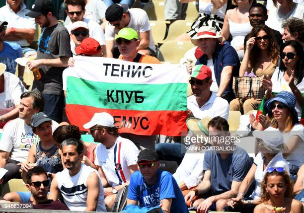 Bulgaria's Grigor Dimitrov supporters cheer during his match against Germany's Philipp Kohlschreiber during the MonteCarlo ATP Masters Series...