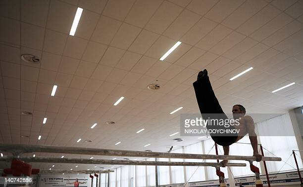 Bulgaria's gymnastic Jordan Jovtchev practices in a gymnasium on February 22 2012 in Sofia At 39 Bulgaria's Jordan Jovtchev is close to becoming the...
