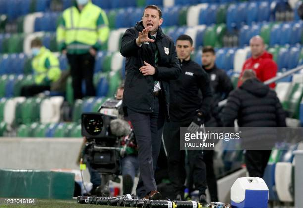Bulgaria's head coach Yasen Petrov shouts instructions to his players from the touchline during the FIFA World Cup Qatar 2022 Group C qualification...