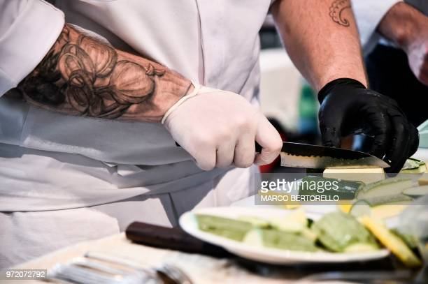 Bulgaria's Hristo Filiov competes during the event of the Bocuse d'Or Europe 2018 International culinary competition on June 12 2018 in Turin