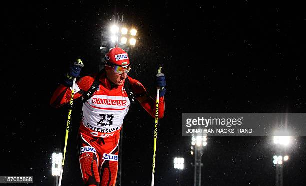 Bulgaria's Krasimir Anev competes during the men's 20 km individual race of the Biathlon World Cup in Ostersund on November 28 2012 Anev finished the...