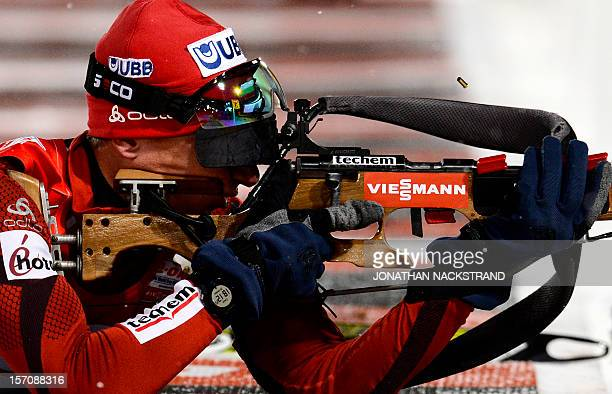 Bulgaria's Krasimir Anev competes during the men's 20 km individual race of the Biathlon World Cup in Ostersund on November 28 2012 AFP...