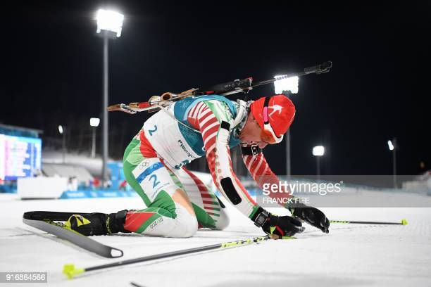Bulgaria's Krasimir Anev competes in the men's 10km sprint biathlon event during the Pyeongchang 2018 Winter Olympic Games on February 11 in...