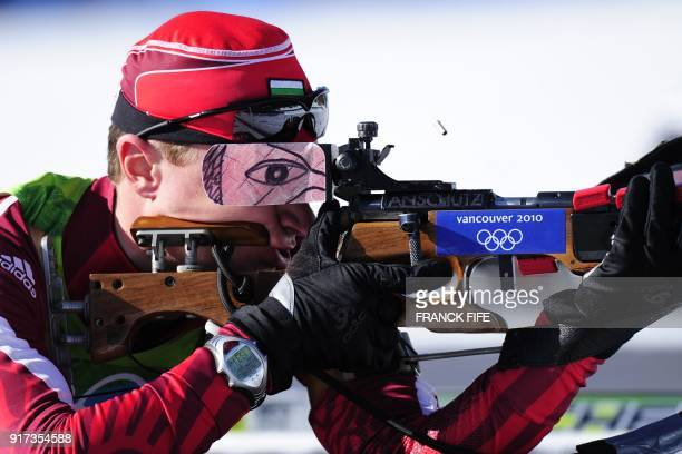 Bulgaria's Krasimir Anev competes in the men's Biathlon 20 km individual at the Whistler Olympic Park during the Vancouver Winter Olympics on...