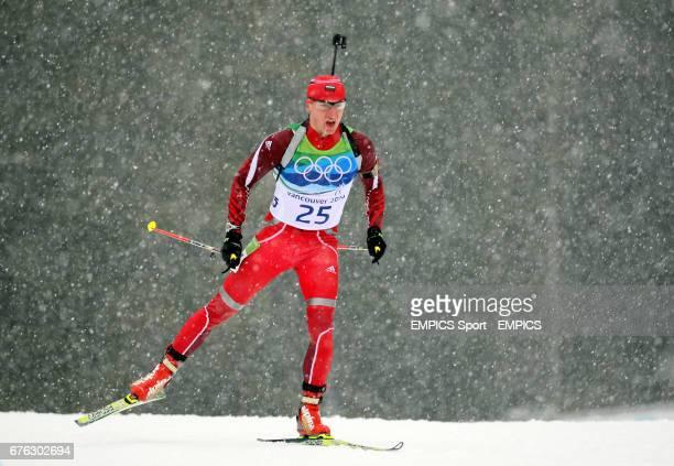 Bulgaria's Krasimir Anev in the Mens 10km Biathlon Sprint at Whistler Olympic Park