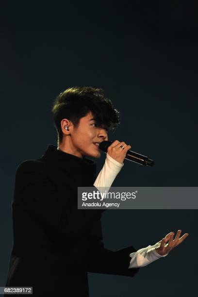 Bulgaria's Kristian Kostov performs the song 'Beautiful Mess' during the final dress rehearsal of Eurovision Song Contest 2017 at the International...