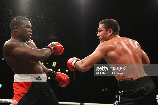 Bulgaria's Kubrat Pulev on top against Nigeria's Gbenga Oloukun in the undercard fight prior to the WBA World Heavyweight title fight between David...