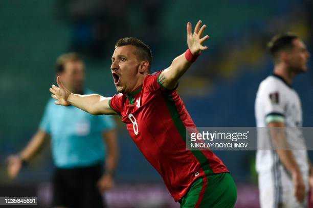 Bulgaria's midfielder Todor Nedelev celebrates after scoring his team's first goal during the FIFA World Cup Qatar 2022 qualification group C...