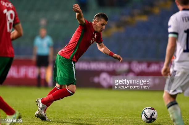 Bulgaria's midfielder Todor Nedelev scores his team's second goal during the FIFA World Cup Qatar 2022 qualification group C football match between...