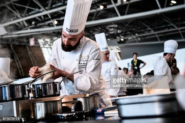 Bulgaria's Nikola Nikolov competes during the Bocuse d'Or Europe 2018 International culinary competition on June 12 2018 in Turin