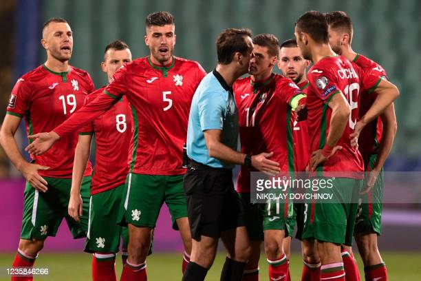 Bulgaria's players argue with referee during the FIFA World Cup Qatar 2022 qualification group C football match between Bulgaria and Northern Ireland...
