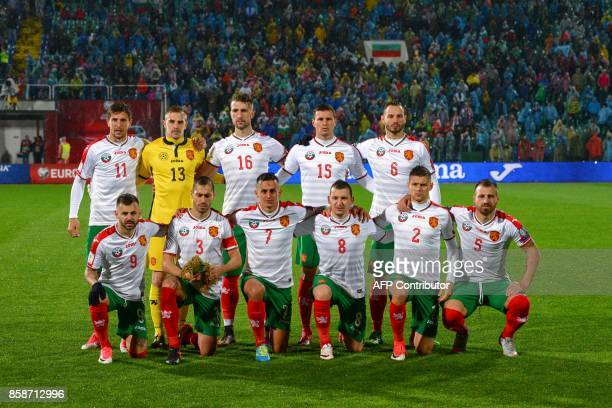 Bulgaria's players forward Spas Delev defender Petar Zanev midfielder Georgi Kostadinov midfielder Todor Nedelev midfielder Strahil Popov and...