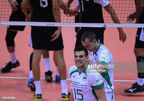 Bulgaria's Todor Aleksiev reacts after lost point during the FIVB World Championships match between Mexico and Bulgaria on September 1 2014 in Gdansk...