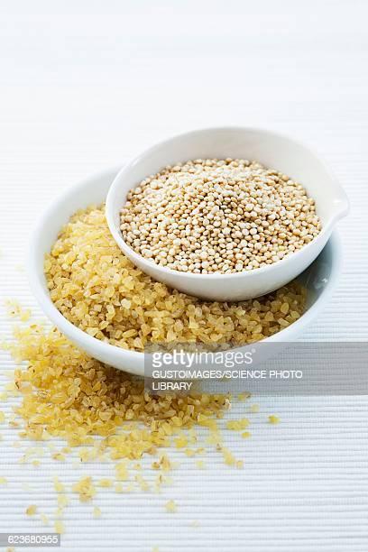 bulgur wheat and quinoa seeds - bulgur bildbanksfoton och bilder