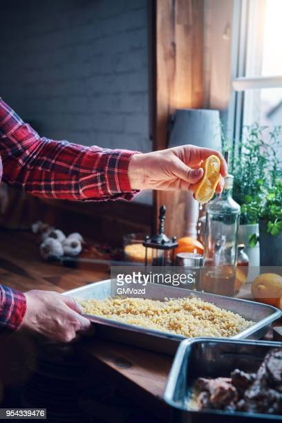 bulgur with lemon and root vegetables - tabbouleh stock pictures, royalty-free photos & images