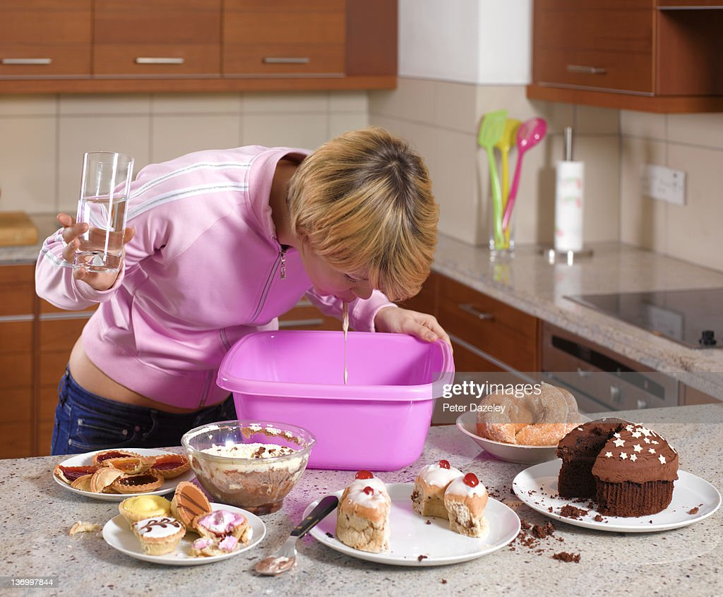 Bulimic binge eating and vomiting : Stock Photo