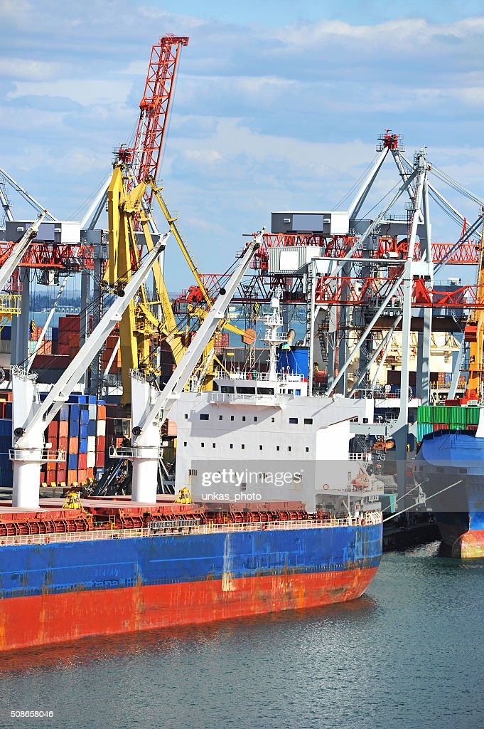 Bulk cargo ship under port crane : Stock Photo