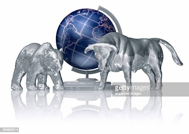 Bull and Bear in front of a globe