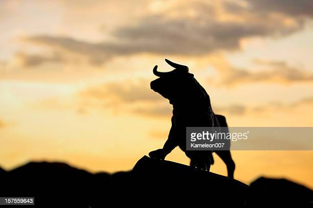 bull and bear market - bull animal stock photos and pictures
