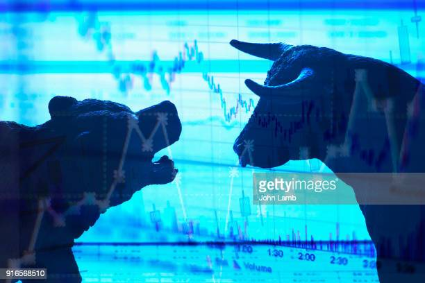 bull and bear stock market - bear market stock pictures, royalty-free photos & images