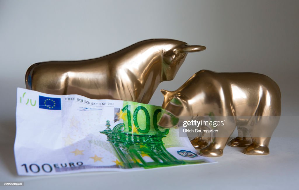 Bull And Bear With A 100 Euro Banknote Pictures Getty Images