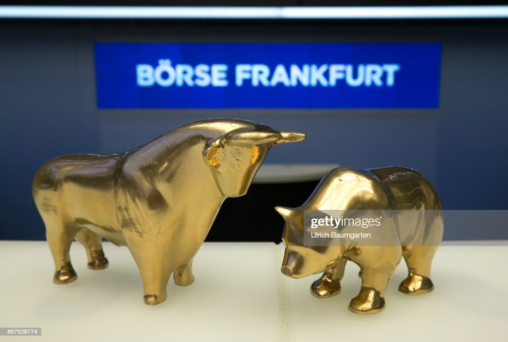Bull And Bear In Gold In The Trading Hall Of The Frankfurt Stock