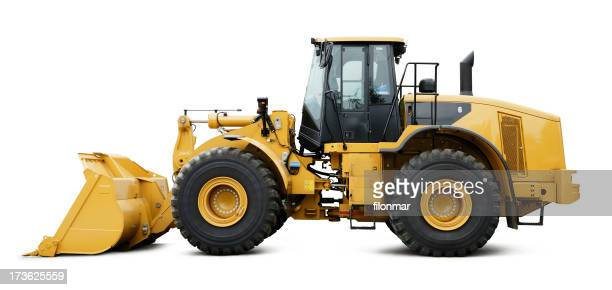 A bull dozer with huge tires on a white background