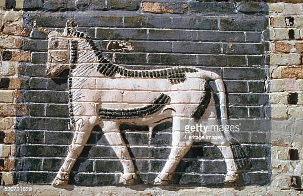 Bull glazed bricks Ishtar Gate Babylon Iraq Built in about 575 BC by the NeoBabylonian King Nebuchadnezzar II the Ishtar Gate was the northern...