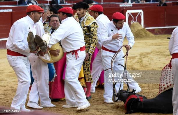 A bull knocks down a horse with the Colombian picador William Torres during a bullfight at the La Santamaria bullring in Bogota Colombia on February...