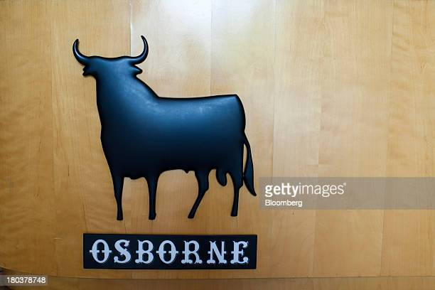 A bull logo sits on display in the reception area at the offices of the Bodegas Osborne SA winery in Malpica de Tajo Spain on Wednesday Sept 11 2013...